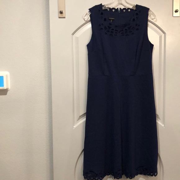 Talbots navy blue battenburg lace neckline dress